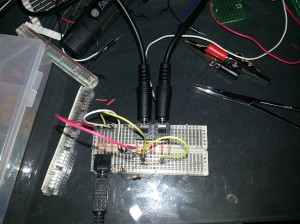Reverse Audio Splitter Breadboard