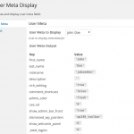 User Meta Display Wordpress Plugin Output