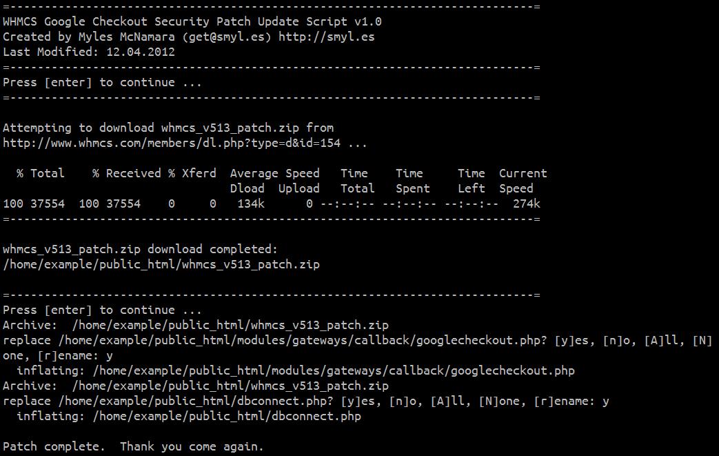 Linux Bash Script to Patch WHMCS 5 1 Google Checkout