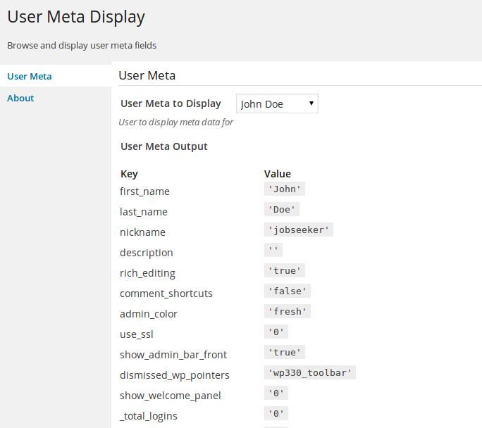 3c22bda3efe Display and View User Meta with User Meta Display WordPress Plugin ...
